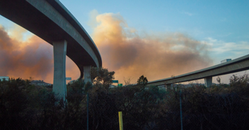 fire from smoke behind freeway