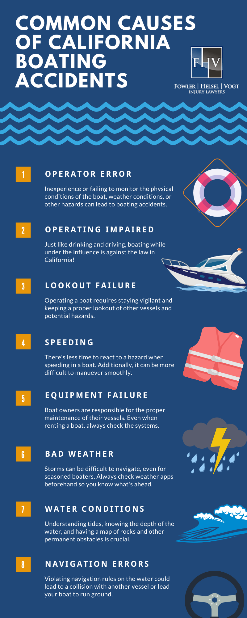 Common causes of boating accidents in California infographic